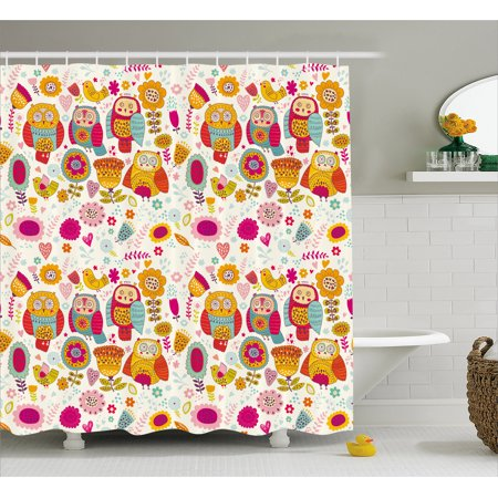 Owl Shower Curtain Sixties Inspired Color Scheme Psychedelic Abstract Birds And Flowers Multicolored Image