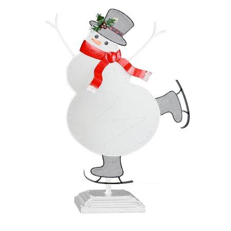Alpine Christmas Snowman Table Decor - LED Light, 11 Inch Tall - Snowman Led