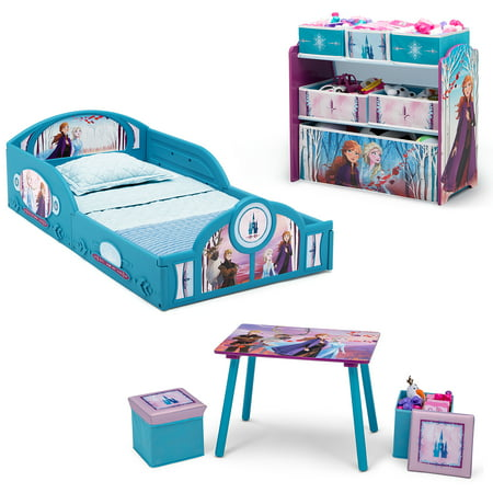 Disney Frozen II 5-Piece Toddler Bedroom Set by Delta Children - Includes Toddler Bed, Table & Ottoman Set, Multi-Bin Toy Organizer