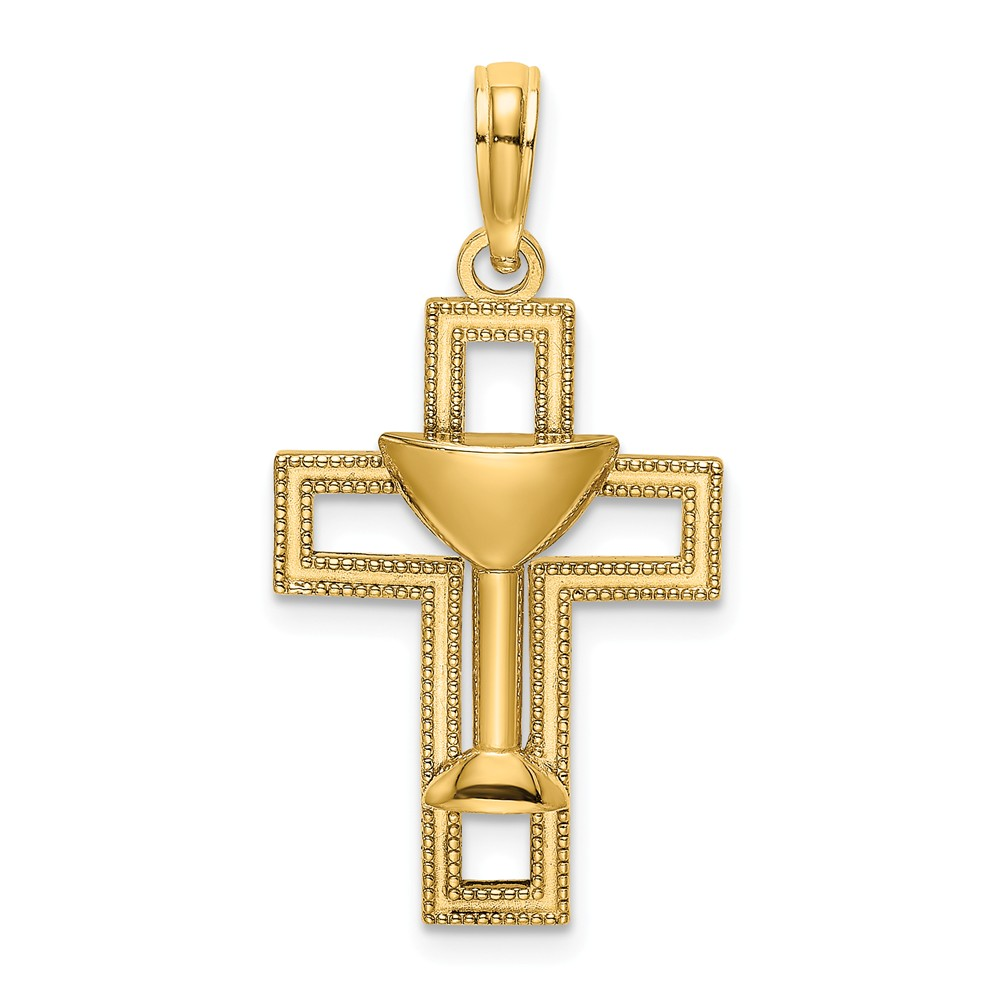 14K Two Tone Gold Communion Cup With Cross Charm Pendant