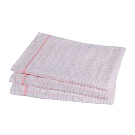 STAR 100% Cotton Dish Towels (3 Pack) - Grade Absorbent White Kitchen  Towels Check Design (Pink)