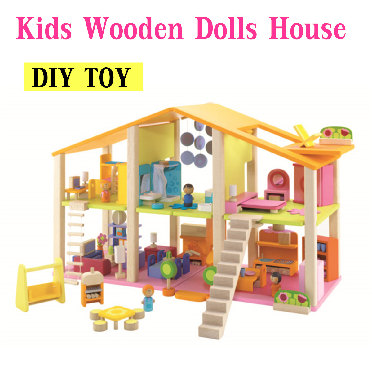 27 5 X 10 6 X 17 7 Large Wooden Dollhouse With Full
