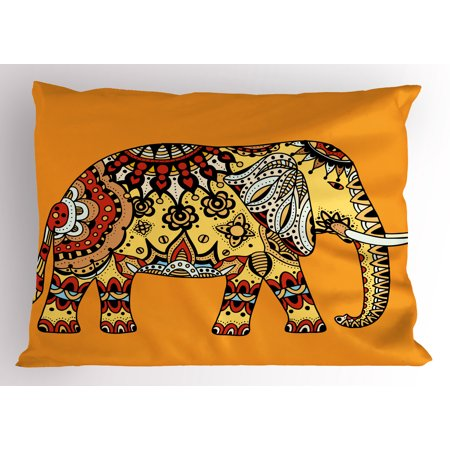 Elephant Mandala Pillow Sham Marigold Backdrop Animal with Paisley Floral Details Strength of Spirit, Decorative Standard King Size Printed Pillowcase, 36 X 20 Inches, Multicolor, by Ambesonne
