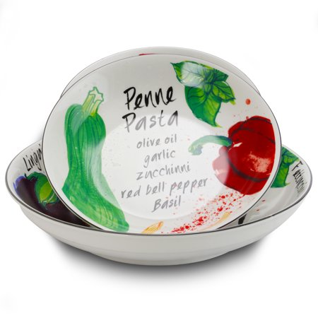 - Gibson Home Fruit Orchard 5-Piece Ceramic Pasta Bowl Set in Assorted Designs