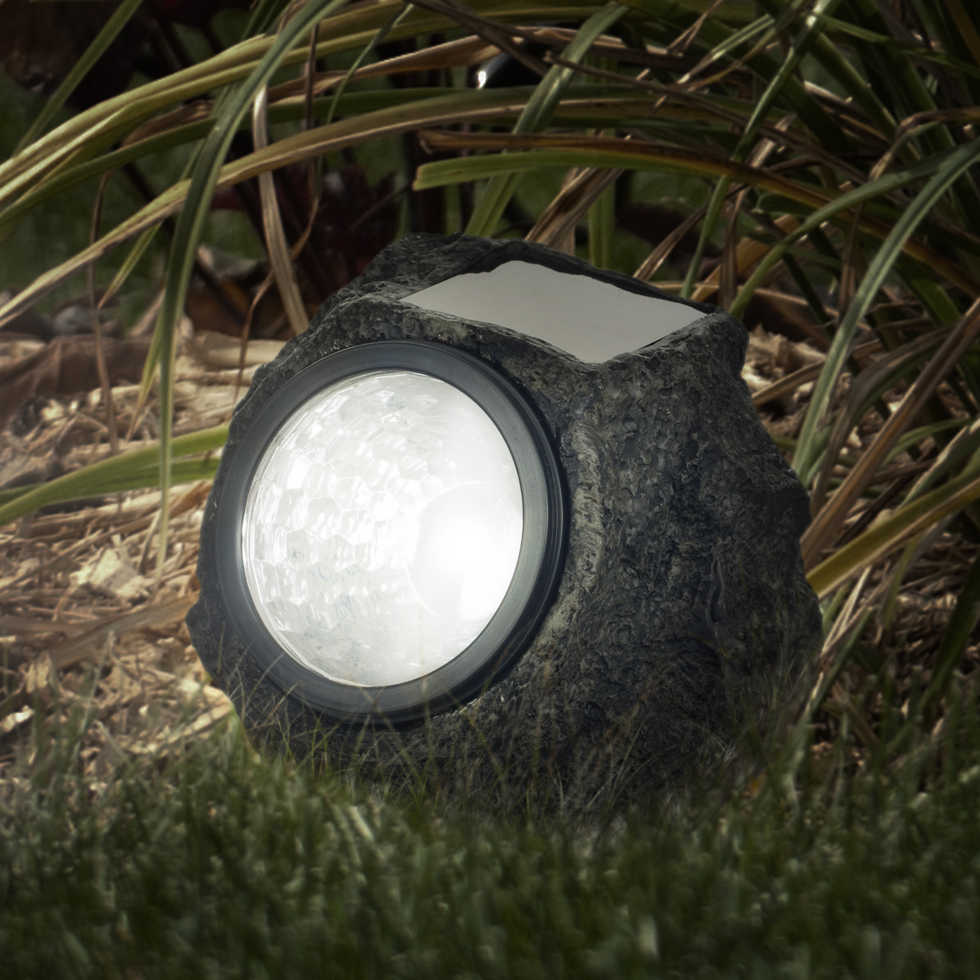 LED Solar Rock Landscaping Lights Set of 4 by Pure Garden by Trademark Global LLC