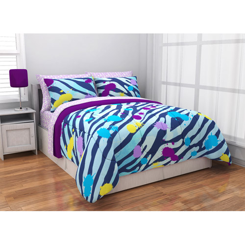 Latitude Zebra Splatter Reversible Bed in a Bag Bedding Set, Purple