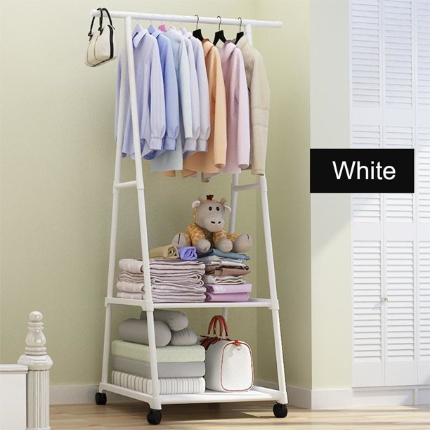 """Garment Rack on Wheels, Clothing Rack Coat Organizer Laundry Closet Storage Entrway Shelving Unit with Hanger and 2-Tier Durable Shelf for Shoes Clothes Storage, 22""""Wx17""""Dx63""""H"""