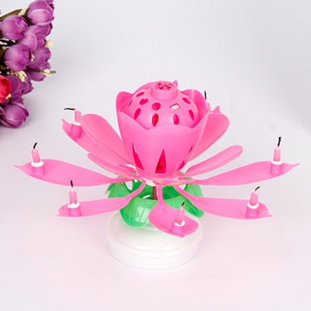 Birthday Party Candle - Musical Blooming Lotus Flower Double-deck Birthday Candle Party Cake Topper Candle