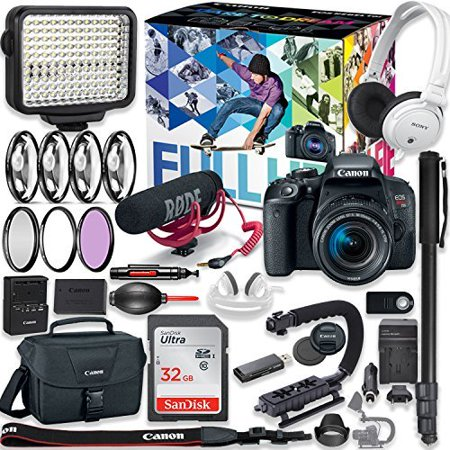 Canon EOS Rebel T7i DSLR Camera Premium Video Creator Kit with Canon 18-55mm Lens + Sony Monitor Series Headphones + Video LED Light + 32gb Memory + Monopod + High End Accessory