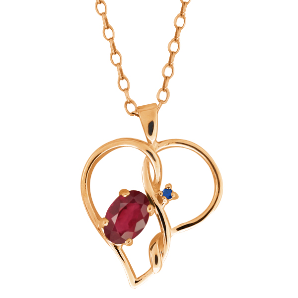 0.66 Ct Oval African Red Ruby Blue Sapphire Gold Plated Sterling Silver Pendant