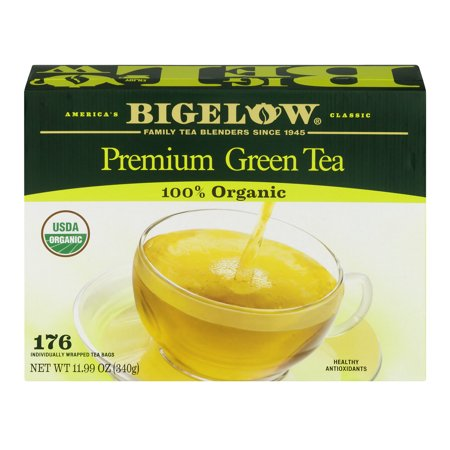 Bigelow Organic Green Tea, Individually Wrapped Tea Bags, 176 Ct