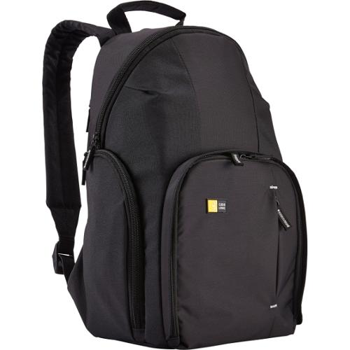 """Case Logic Compact Carrying Case (Backpack) for iPad, Accessories, Camera - Black - Dobby Nylon - Shoulder Strap - 15"""" H"""