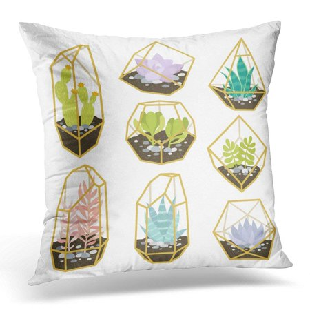 BSDHOME Big of Simple Geometric Terrariums with Plants with Succulents and Cactus Like Stickers Pins Patches Pillow Case Pillow Cover 20x20 inch - image 1 of 1