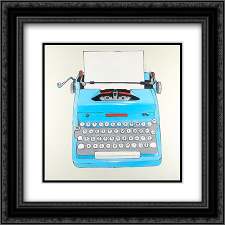 Blue Typewritter Machine 2x Matted 20x20 Black Ornate Framed Art Print by Atelier B Art Studio