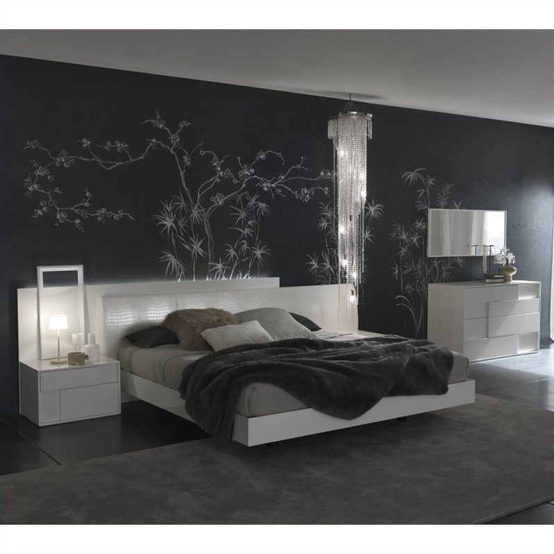 Rossetto Nightfly Glossy Lacquered Platform Bed in White