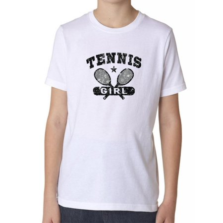 Tennis Girl Graphic with Racket Player Love Support Boy's Cotton Youth (Top Male Tennis Players Of All Time)