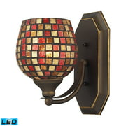 Mix-N-Match Vanity 1-Light Wall Lamp in Aged Bronze with Multi-colored Glass - Includes LED Bulb