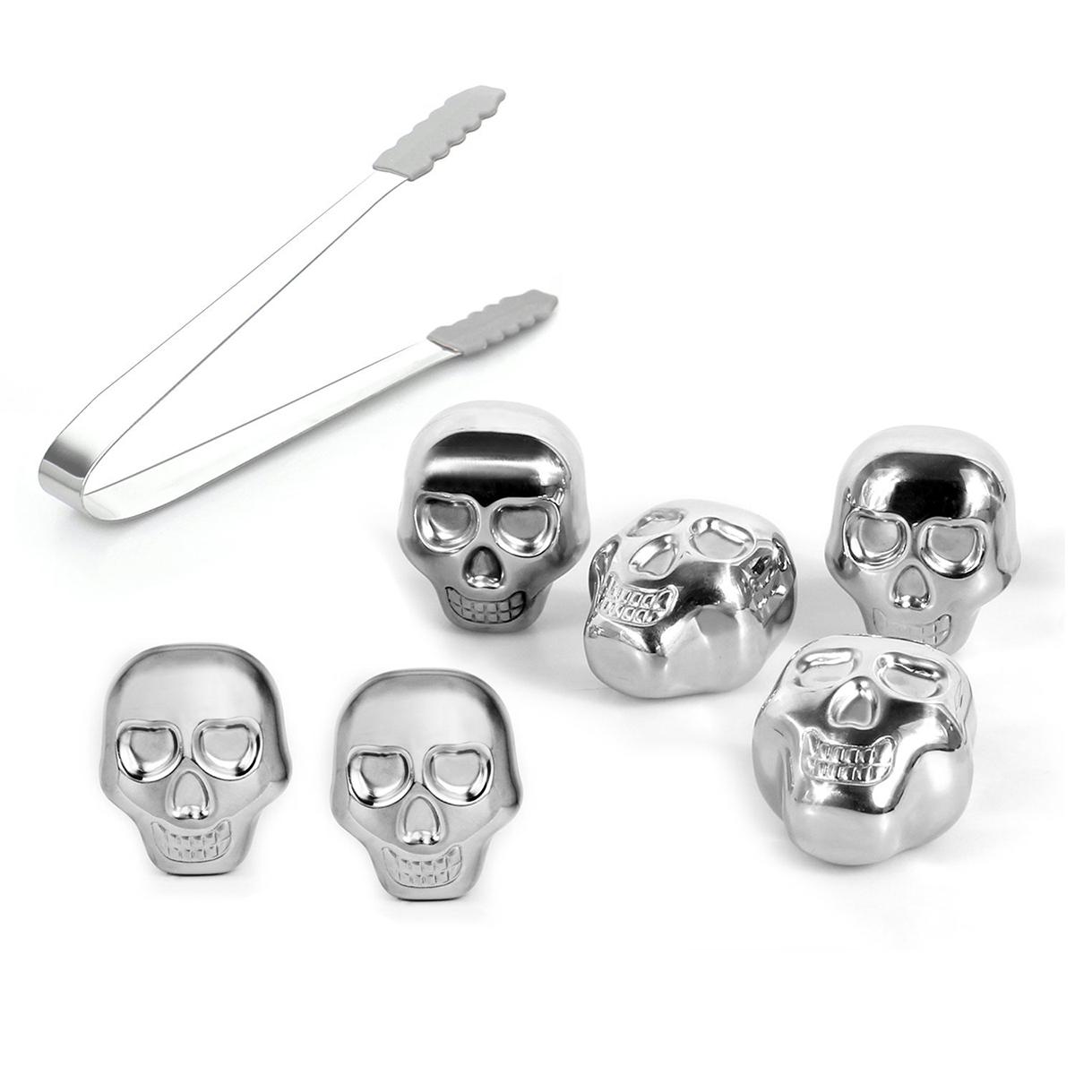Set of 6 Stainless Steel Skull Rocks Whiskey Stones Wine ...