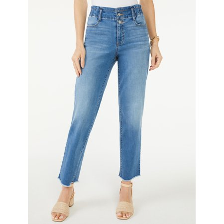 Scoop Women's High-Rise Straight Crop Jeans