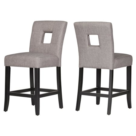 Chelsea Lane Linen Keyhole Counter Height Dining Chair - Set of 2