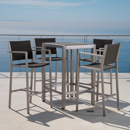 Carmen Outdoor 5 Piece Grey Wicker Bar Set