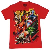 Marvel Comics Mens T-Shirt - Swiped Images of Hulk Thor Cap Spidey & More