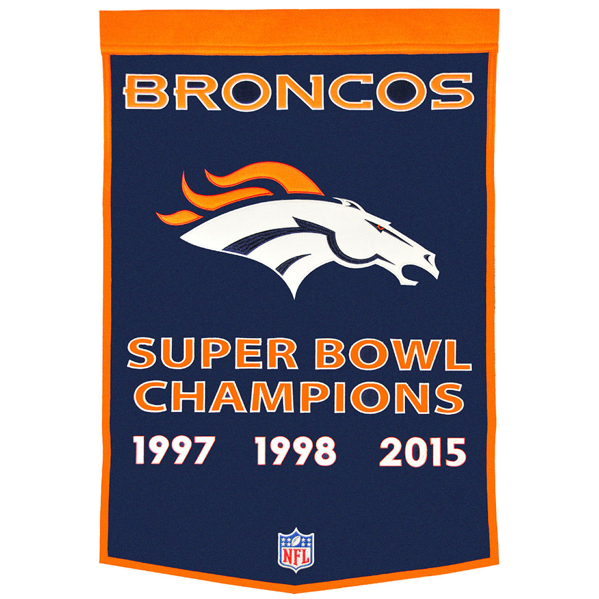 Denver Broncos Official NFL 38 inch  x 24 inch  wall banner by Winning Streak