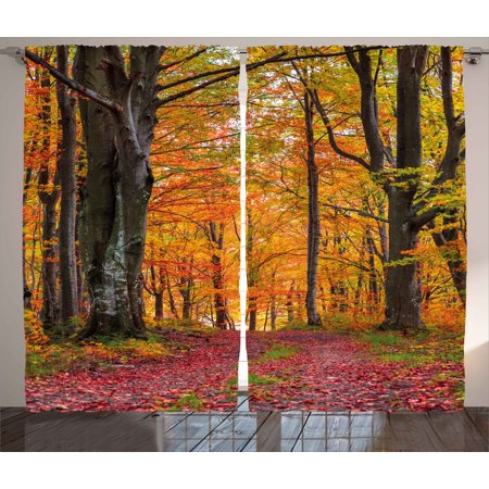 Autumn Curtains 2 Panels Set, Fall Forest with Shady Deciduous Trees and Faded Leaf Magic Woodland Picture, Window Drapes for Living Room Bedroom, 108W X 96L Inches, Apricot Brown Red, - Room Magic Poodles
