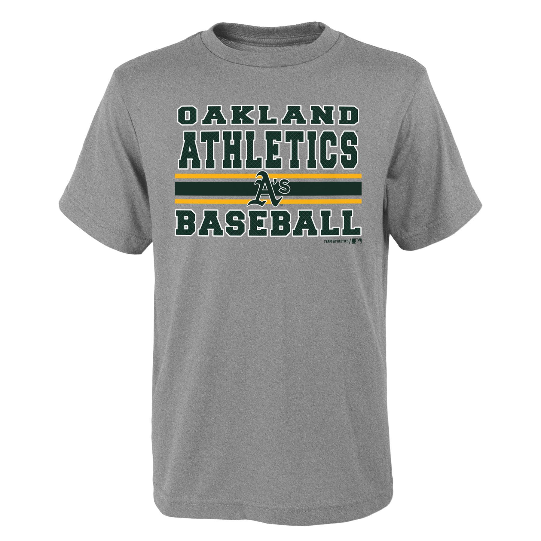 "MLB Oakland A""S TEE Short Sleeve Boys OPP 90% Cotton 10% Polyester Gray Team Tee 4-18"
