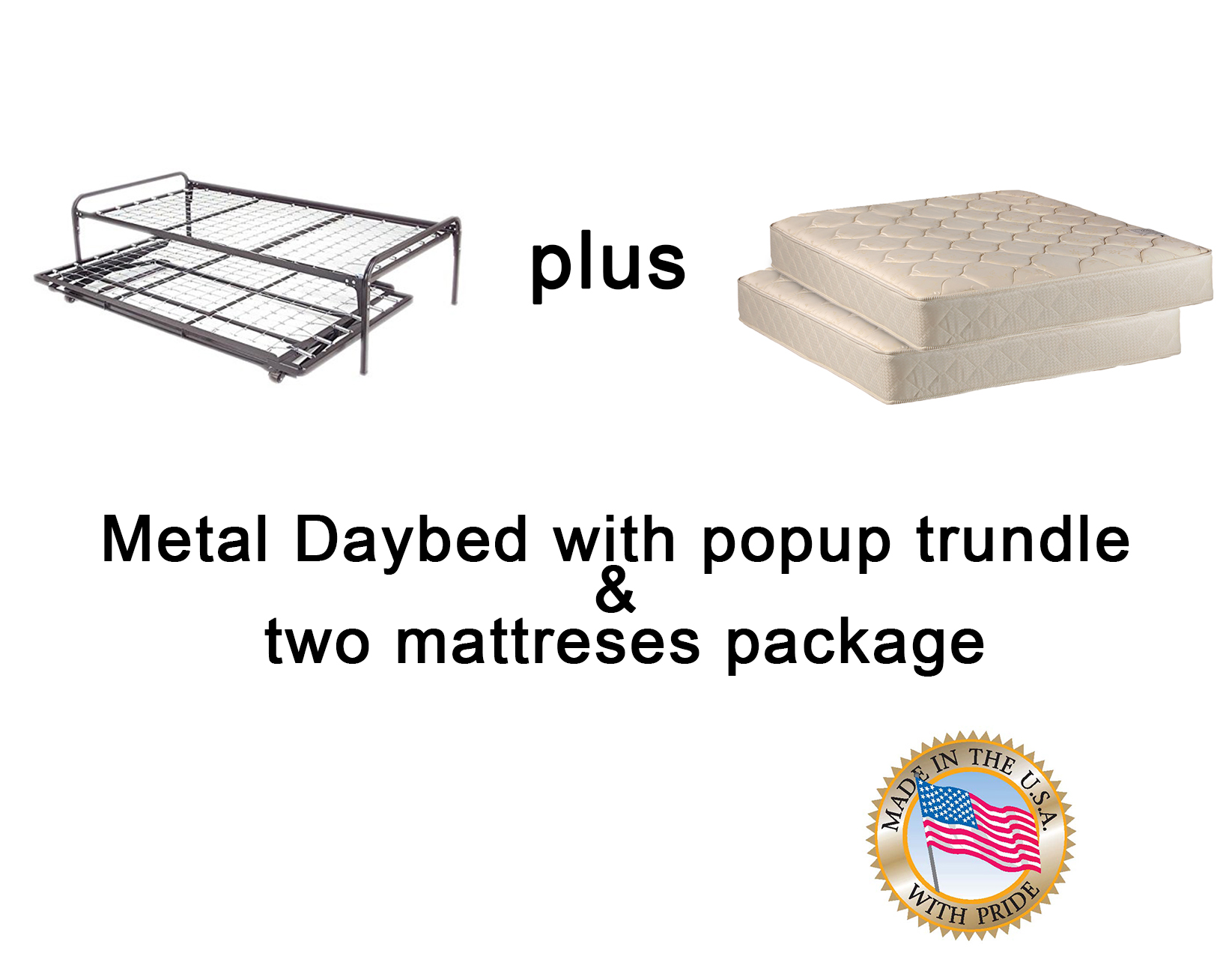 Twin Trundle Bed with Mattress Package by Dream Solutions USA