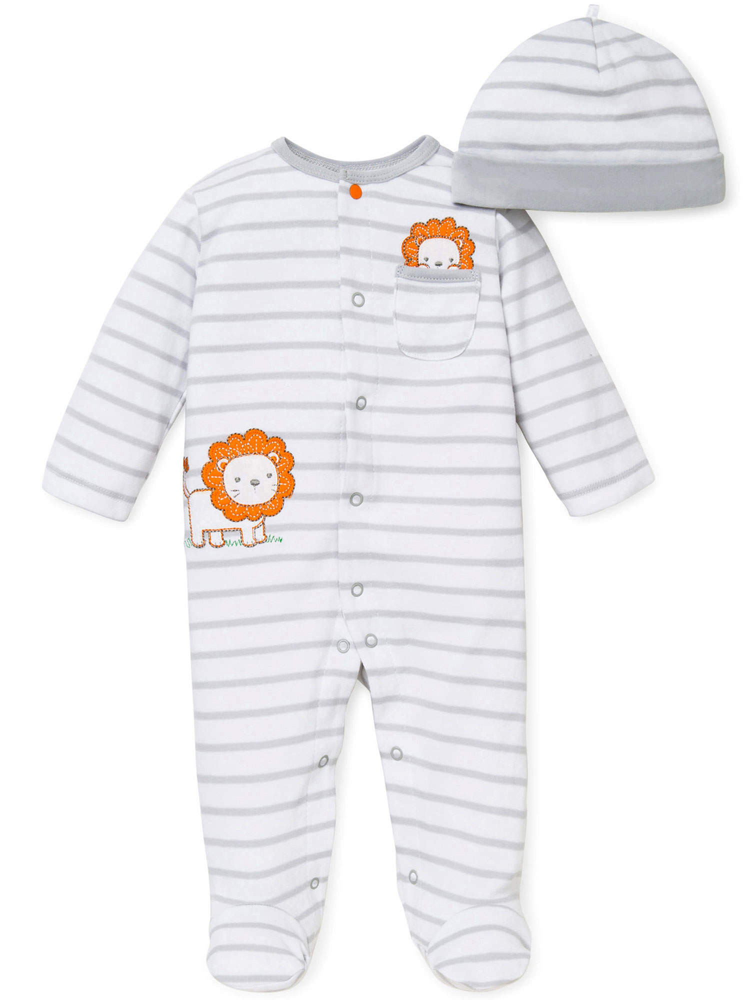 Little Lion Grey and White Striped Snap Front Footie Pajamas with Hat For Baby Boys Sleep N Play One Piece Romper Coverall Cotton Infant Footed Sleeper; Pijamas Para Bebes- White and Gray - Newborn