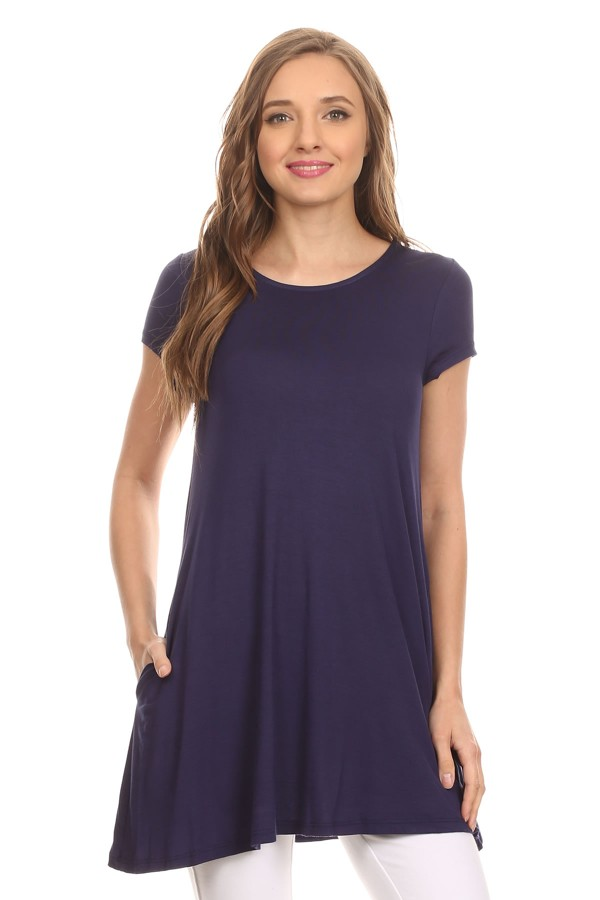 Women's trendy style solid short sleeve side pocket tunic top
