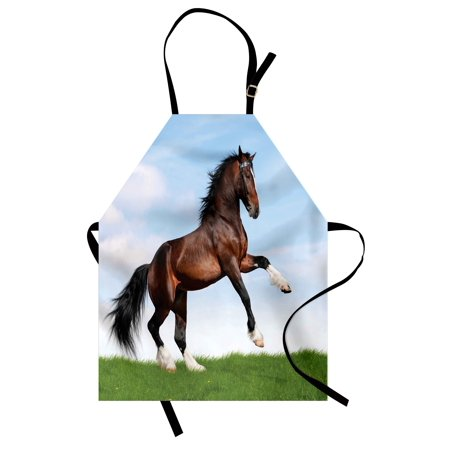 (Horses Apron Bay Horse Pacing on the Grass Energetic Noble Character of the Nature Concept, Unisex Kitchen Bib Apron with Adjustable Neck for Cooking Baking Gardening, Blue Green Brown, by Ambesonne)