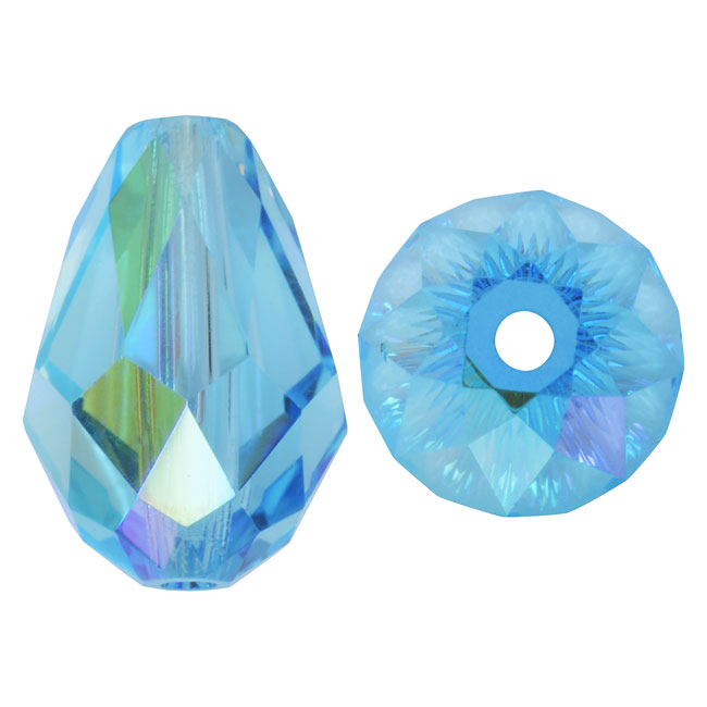 Swarovski Crystal, #5500 Drop Beads 9mm, 4 Pieces, Aquamarine AB