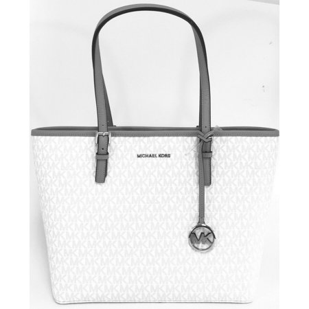 BRAND NEW WOMENS MICHAEL KORS JET SET MEDIUM CARRYALL SIGNATURE TOTE HANDBAG (Bright White) (Light Blue Michael Kors Handbags)