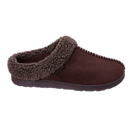 Dearfoams Men's Wide Width Microsuede Clog with Whipstitch Slippers
