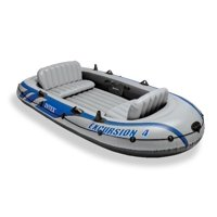 Intex Excursion 4 Inflatable Rafting/Fishing Boat Set w/Oars