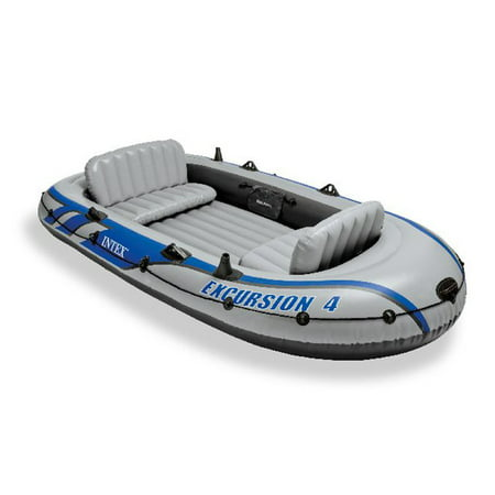 Intex Excursion 4 Inflatable Rafting Fishing 4 Person Boat Set w/ Oars and