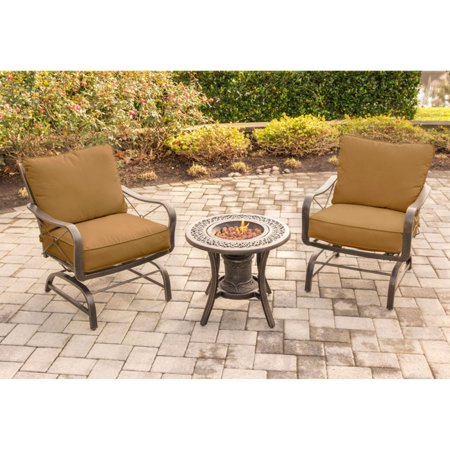 Hanover Outdoor Summer Nights 3-Piece Fire Urn Chat Set with Steel-Frame Rockers, Desert Sunset ()