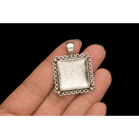 Picture Frame Locket Square Silver Picture Pendant Bezel Cabochon 6 Counts Photo Frame Locket