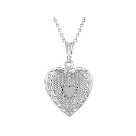 Small Textured Photo Memory Locket Heart Womens Pendant Necklace 19""