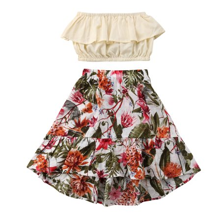 Fashion Kids Little Baby Girl Tube Top+Floral Maxi Skirt Dress Outfits - 60s Girls Fashion