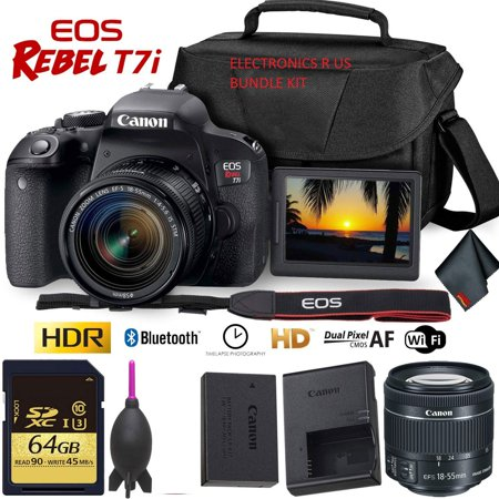 Canon EOS Rebel T7i DSLR Camera with 18-55mm Lens + 64GB Memory Card Combo + ELECTRONICS R US CLOTH