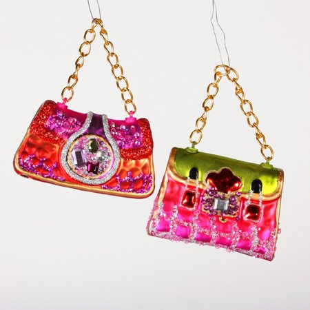 Lady Hand Bags Purses Funky 1970 S Style Mod Glass Christmas Ornaments New By Sterling