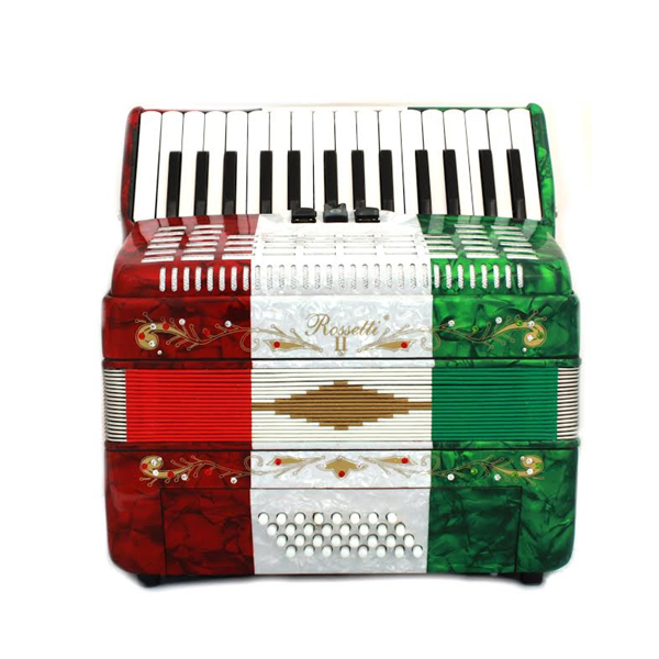 Rossetti Piano Accordion 32 Bass 30 Piano Keys 3 Switches Mexican Flag by Rossetti