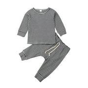 Gueuusu Newborn Baby Stripe Set Long Sleeve Ribbed Knit Sweatshirt + Long Pants