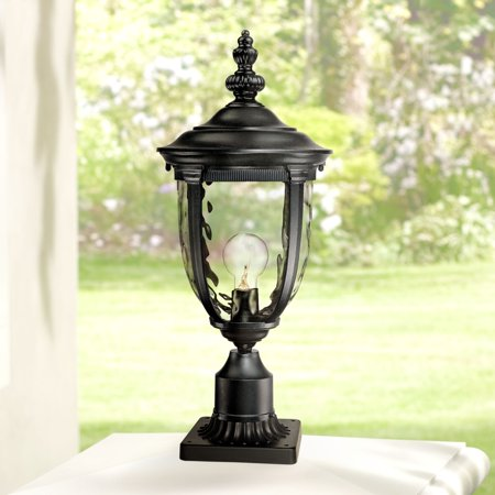 "John Timberland Vintage Outdoor Post Light Black 21"" Tall Fixture Pier Mount for Deck Patio Porch"