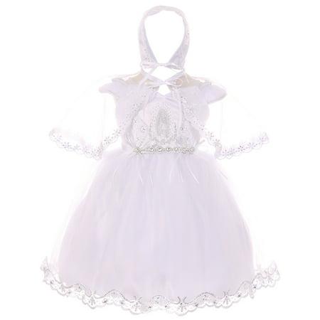 Baby Girls Infant Virgin Mary Bonnet Cape Baptism Set Christening Dresses White 0 - Christening Dresses