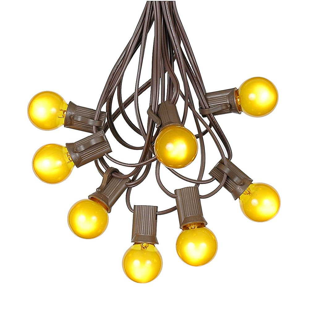 G30 Patio String Lights with 125 Clear Globe Bulbs – Outdoor String Lights – Market Bistro Café Hanging String Lights – Patio Garden Umbrella Globe Lights - Brown Wire - 100 Feet