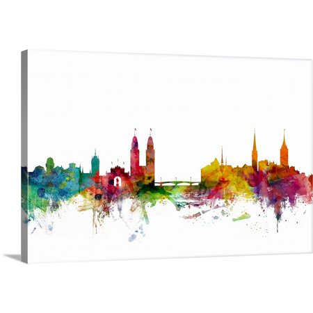 Great BIG Canvas | Michael Tompsett Premium Thick-Wrap Canvas entitled Zurich Switzerland Skyline